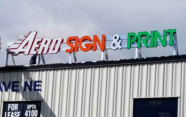 Roof Top Mount 3D Business Signs Calgary